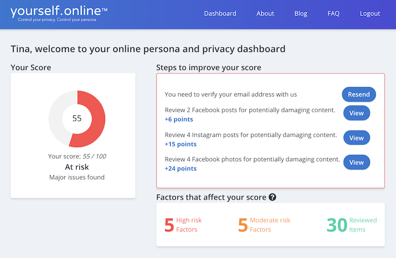 yourself.online online persona and privacy dashboard