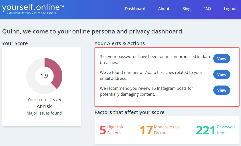 Overview of the yourself.online dashboard